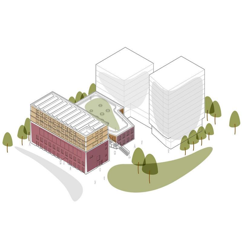 Zentrum am Hauptbahnhof (1. Bauabschnitt) mit städtebaulichen Ideen für den 2. und 3. Bauabschnitt © Sauerbruch Hutton Gesellschaft von Architekten mbH, Berlin
