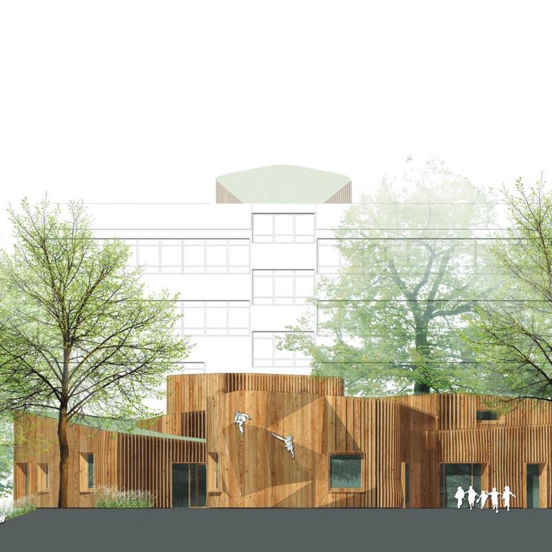 Ein neues Hortgebäude mit Ideenteil für eine Schulerweiterung © Mono Architekten
